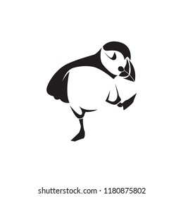 cute puffin character black and white