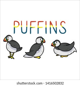 Cute puffin text cartoon vector illustration motif set. Hand drawn isolated seaside wildlife elements clipart for nautical birdwatching blog, bird graphic, feather web buttons.