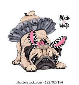 Cute Pug in a ballerina tutu, in a striped zebra mask with a pink bow. Black or White - lettering quote. Humor card, poster, t-shirt composition, hand drawn vector illustration.