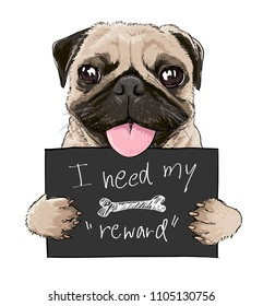 cute pug cartoon holding sign illustration