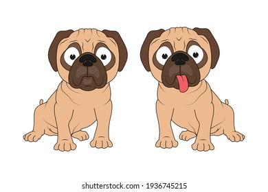 cute PUG Dog animal cartoon, simple vector illustration