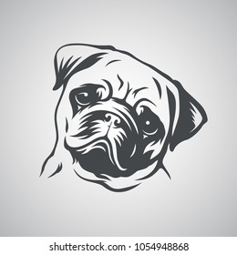 Cute pug dog head. Vector illustration.