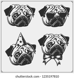 Cute Pug dog portrait with Holiday Attributes. Print design for t-shirts. Template for Pets Shop design.