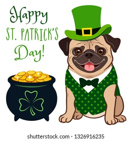 "Cute pug dog in St. Patrick's Day leprechaun costume: green top hat, vest and bow tie, pot of gold filled with coins, with shamrock sign, ""Happy St. Patrick's Day!"" text. Irish holiday folklore theme."