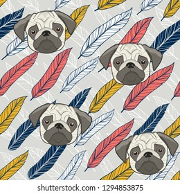 Cute pug seamless background with colorful feathers. Vector endless pattern.