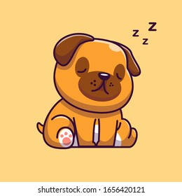 Cute Pug Sleeping Vector Icon Illustration. Lazy Pug Mascot Cartoon Character. Animal Icon Concept White Isolated. Flat Cartoon Style Suitable for Web Landing Page, Banner, Flyer, Sticker, Card