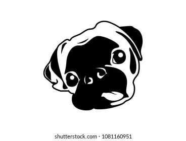 Puggy dog images stock photos vectors shutterstock cute puggy dog in black white style for minimal artworks sticker stencil altavistaventures Images