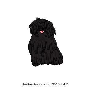 Cute Puli Cartoon Dog. Vector illustration of purebred puli dog.