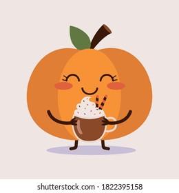 Cute pumpkin holding a mug of pumpkin spice latte with whipped cream. Flat vector cartoon illustration.