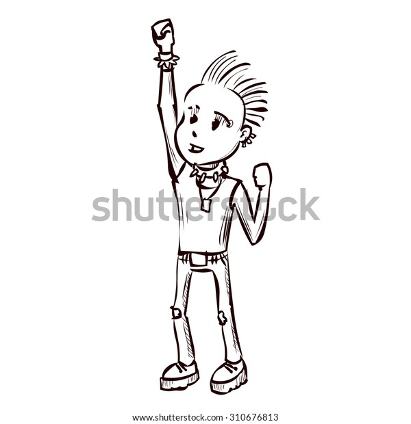 Cute Punk Rock Boy Hand Drawn Stock Vector (Royalty Free ...