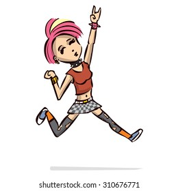 Cute punk rock girl. Hand drawn cartoon vector illustration.