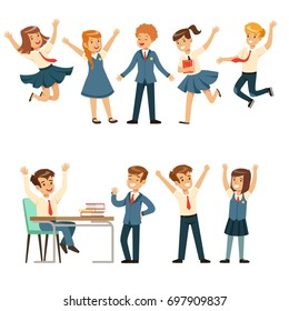 Cute pupils in blue school uniform having fun at school set, back to school, education concept colorful vector Illustrations