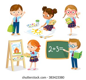 cute pupils in school uniform studying, drawing, reading