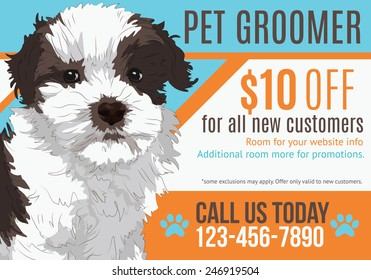 Cute puppy advertising pet grooming salon postcard with coupon template