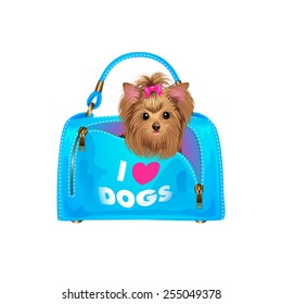 Cute puppy in bag. Isolated vector illustration.