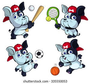 cute puppy bulldog vector sport set