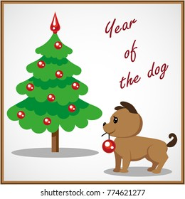 Cute puppy decorates a Christmas tree with red balls. Christmas card, congratulations on the New Year.