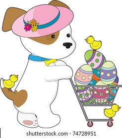 A cute puppy dog wearing a Spring hat is shopping for Easter eggs - there are little chicks with her