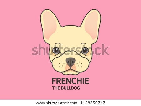 Cute Puppy French Bulldog Face On Stock Vector Royalty Free