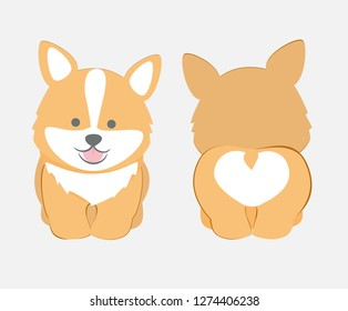 Cute puppy front and back vector. Funny Welsh Corgi dog . Lovely design for cards and T-shirts.