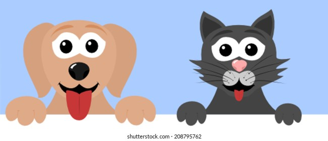 Cute puppy and a kitty
