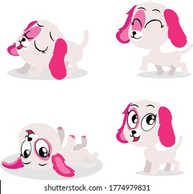 A cute puppy with pink ears in four adorable pose.