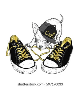 Cute puppy playing with sneakers. Vector illustration for a card or poster. Print on clothes.