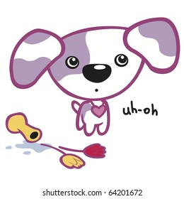 Cute puppy with purple spots and vase