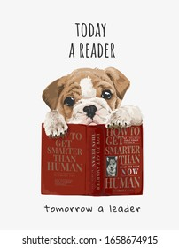 cute puppy with red books illustration