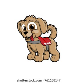 Cute puppy with rescue harness hand drawn color vector mascot