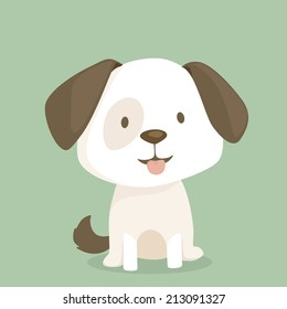 Cute puppy sits, vector illustration