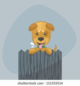 Cute puppy standing up with paws over a wooden fence