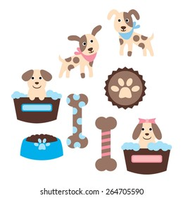 Cute puppy vector.