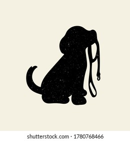 Cute puppy vector silhouette with gritty vintage texture. Isolated flat illustration.