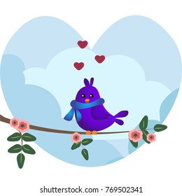 Cute purple bird with blue scarf sitting on a branch with flowers. Cute sparrow with hearts on sky background