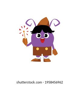 Cute purple cartoon monster in brown pilgrim costume holding a sparkler and smiling isolated on white background. Baby alien insect with antennae - flat vector illustration