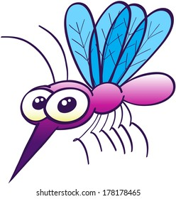Cute purple mosquito with big bulging eyes, four blue wings, a pair of antennae, a sharp proboscis and tiny legs while floating, posing, staring at you and looking disturbingly harmless