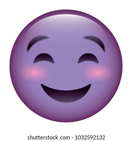 cute purple smile emoticon happy close eyes