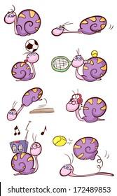 cute purple snail