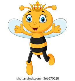 Cute queen bee hand's up isolated on white background