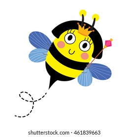 Cute Queen Bee holding scepter animal cartoon character isolated on white background.