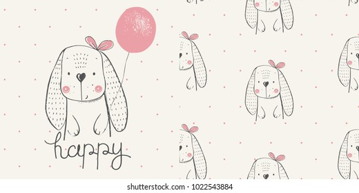 Cute Rabbit with balloon. seamless pattern .cartoon hand drawn vector illustration.