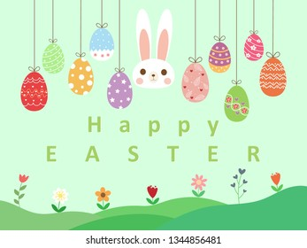 Cute rabbit and beautiful colorful easter eggs on pastel blue sky and green grass background with text happy easter and copy space. Hand drawn illustration vector wallpaper on easter holiday in April.