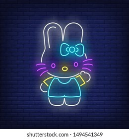Cute rabbit with bow neon sign. Pet, animal, decor design. Night bright neon sign, colorful billboard, light banner. Vector illustration in neon style.