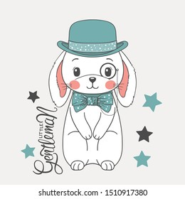 Cute rabbit boy gentleman with bowler hat, monocle, bow tie. Cartoon vector illustration for t-shirt graphics, fashion prints and other uses