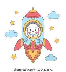 Cute rabbit boy in a rocket. Illustration for t-shirt prints, posters and other uses.