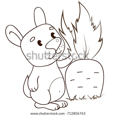 Cute Rabbit Carrot Coloring Page Stock Vector Royalty Free
