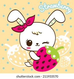 Cute Rabbit cartoon hold strawberry on polka dots background