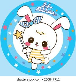 Cute Rabbit cartoon on star background