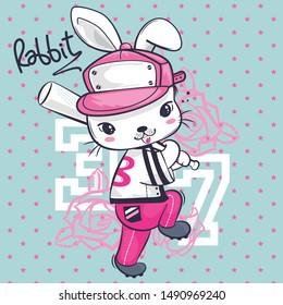 Cute rabbit cartoon posing with a baseball bat on star background illustration vector.